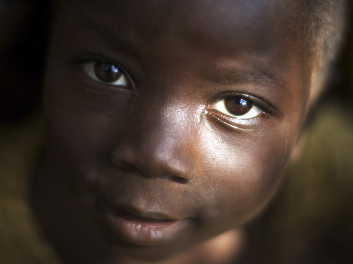child looking in camera